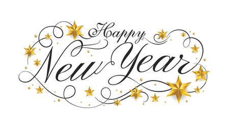 Happy New Year lettering banner design with ornament for new year celebration