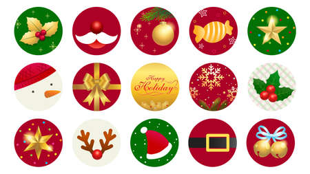 Merry Christmas ornament icon label or sticker for new year celebration decoration 向量圖像
