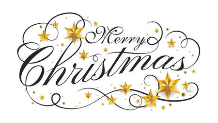 Merry Christmas lettering banner design with ornament for new year celebration