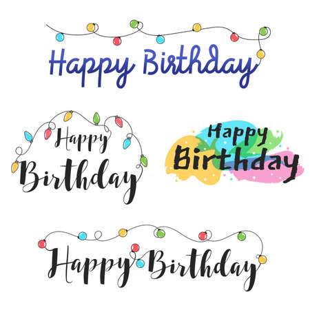 Cute Happy Birthday lettering banner design with ornament for birthday celebration