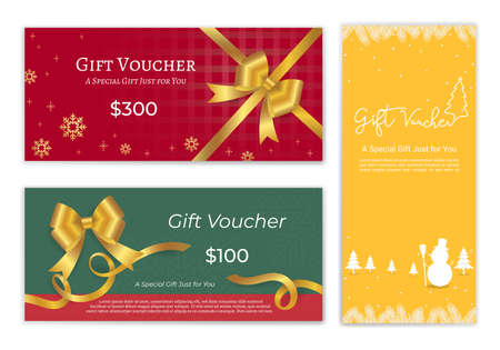 Christmas and new year gift certificate, voucher, gift card or cash coupon template with xmas ornament in vector format