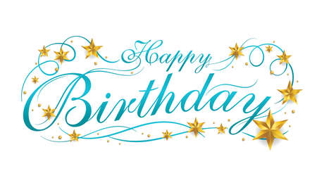 Happy Birthday lettering banner design with ornament for birthday celebration