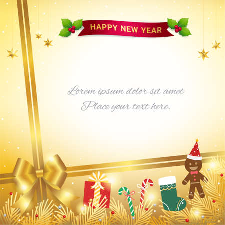 Merry Christmas banner poster or backdrop template with festive elements border 向量圖像