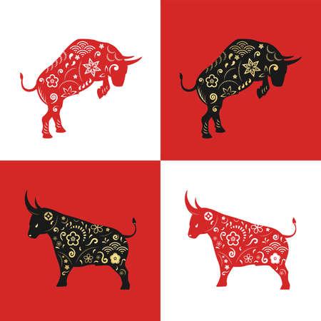 Year of the ox, Chinese zodiac animal, Chinese New Year, taurus zodiac sign 向量圖像