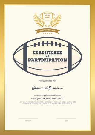 Certificate template sport theme with border frame, Diploma design