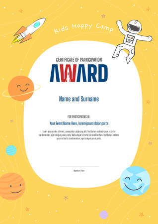 Kids Diploma or certificate template with colorful background for kid camp 向量圖像