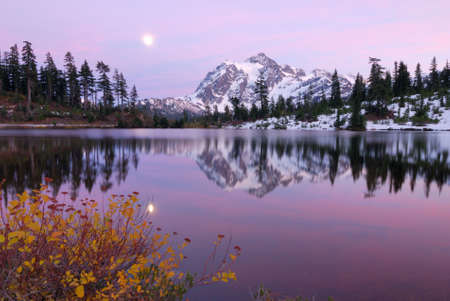 Moonrise at the Twilight Hour at Mount Shuksan photo