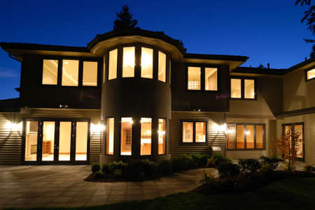 model home: Night Fall on large New Home