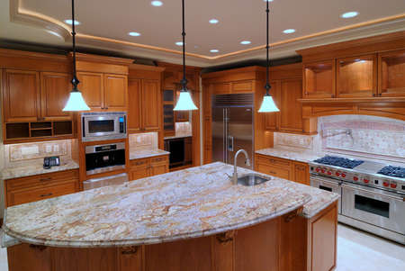 Large Open Kitchen with Marble Counter Top