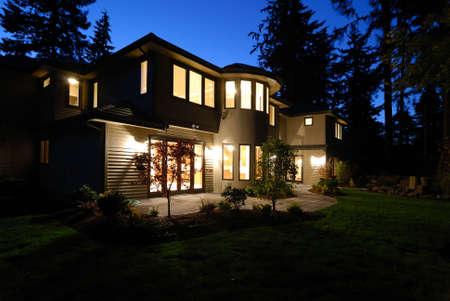New House at Night Stock Photo