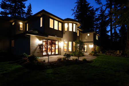 New House at Night Stock Photo