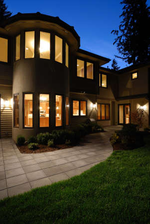 Exterior of an American Luxury Wooden House Stock Photo