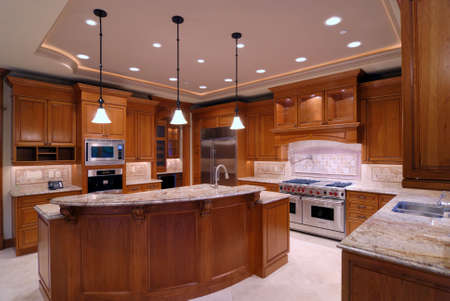 expensive granite: Luxury Kitchen Stock Photo