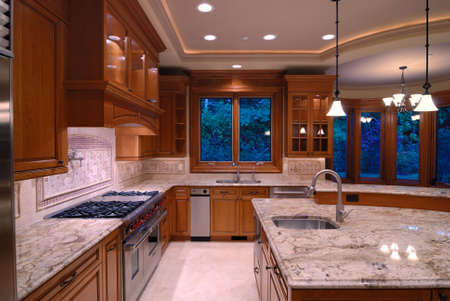 expensive granite: Open Kitchen Stock Photo