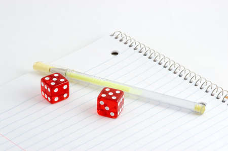Dice and Notebook Stok Fotoğraf