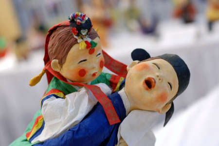 asian art: Korean Folk Art, miniature Clay dolls dressed in traditional costume