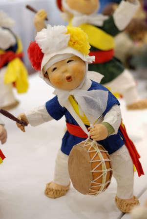 Korean Folk Art, miniature Clay dolls dressed in traditional costume