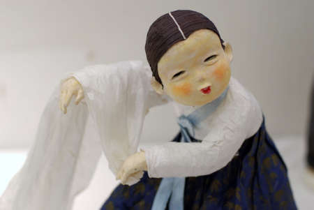 Korean Folk Art, miniature Clay dolls dressed in traditional costume