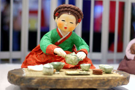 korean woman: Korean Folk Art, miniature Clay dolls dressed in traditional costume