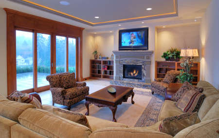 interior designer: Luxurious Living Room with a View Stock Photo