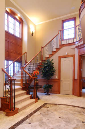 residential structures: Grand Staircase in a luxury American House Stock Photo