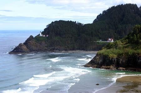 Lighthouse at Oregon Coast Stock Photo