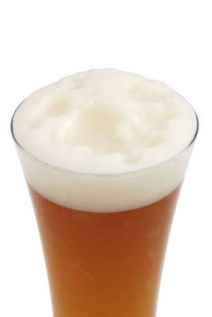 brewed: Glass of honey brewed wheat beer on white