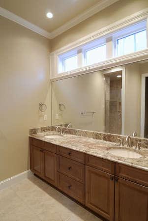 Double Vanity at Master Bathroom Foto de archivo