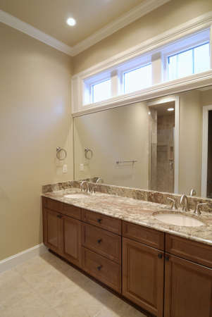 double sink: Double Vanity at Master Bathroom Stock Photo