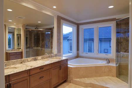 bathroom: Large Master Bathroom Stock Photo