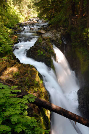 sol duc: Sol Duc Falls in the Olympic National Park Stock Photo