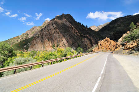 Highway leads to the Big Cottonwood Canyon, Utah