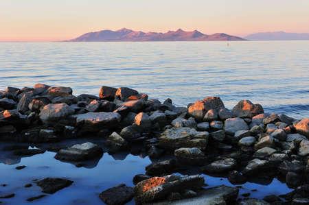 Sunset at the Great Salt Lake  Фото со стока