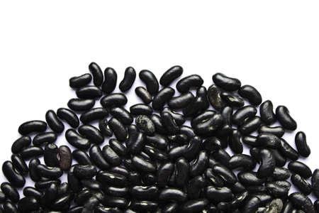 turtle bean: Black beans on the white background