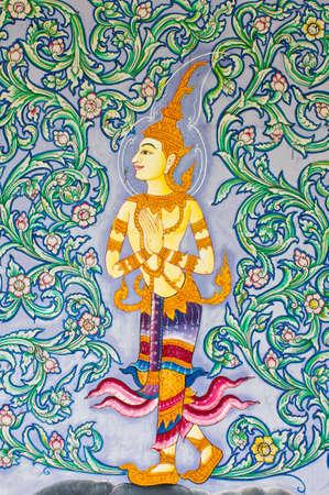 Thai art on temple door photo