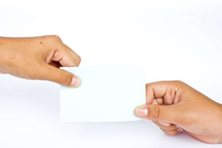 Blank card in the hand