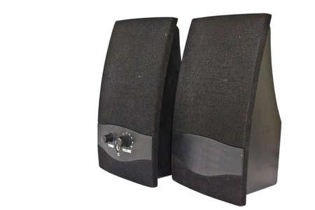 Black speaker Isolated on white photo