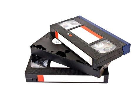 cintas: triple cassettes VHS Foto de archivo