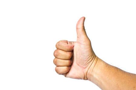mens hand make thumbs up