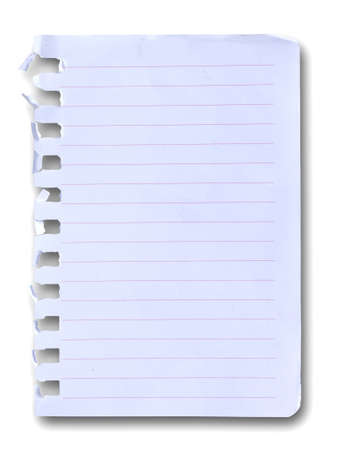 notebook paper on white background photo