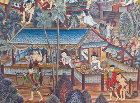 thai painting: Murals on the walls of the temple in