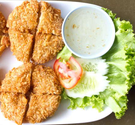 Fried shrimp on the dish , Thai food