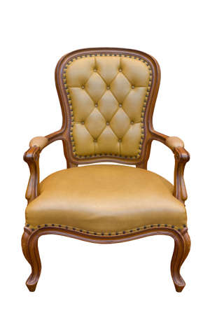 antique chair: Brown luxury armchair isolated on the white background