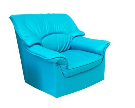 blue leather sofa: il divano in pelle blu isolato su bianco con il percorso di clipping