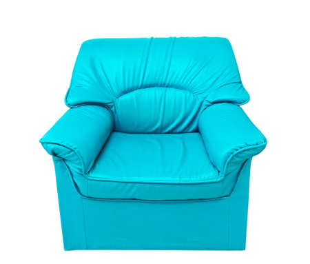 the blue leather sofa isolated on white with clipping path