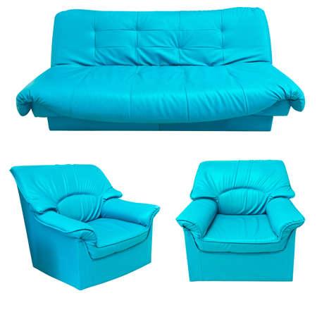 blue leather sofa: il divano in pelle blu insieme isolato su sfondo bianco