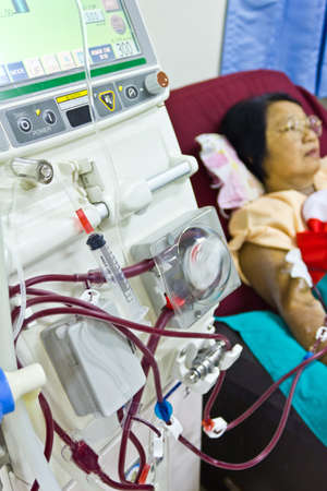 to purify the blood with artificial kidney in the hospital
