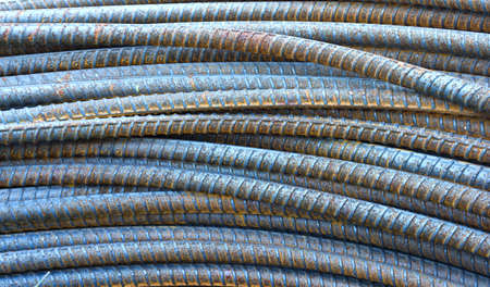 reinforcing bar: closed up of steel rods or bars used to reinforce concrete