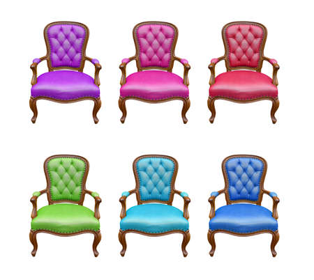 The set of luxury arm chair isolated on the white background