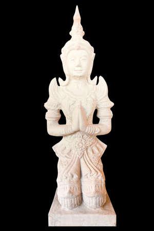 Statue dans le temple tha�landais sur fond noir avec chemin de d�tourage Banque d'images
